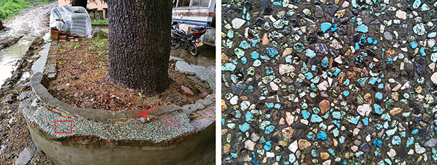 Turquoise fragments used as outdoor decorative materials