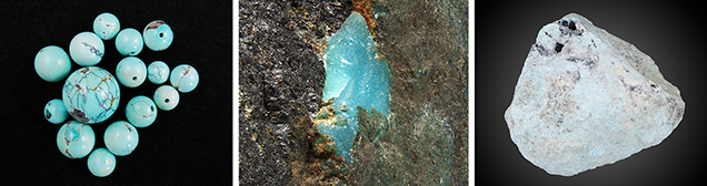 Turquoise containing fissures, pores, and other defects