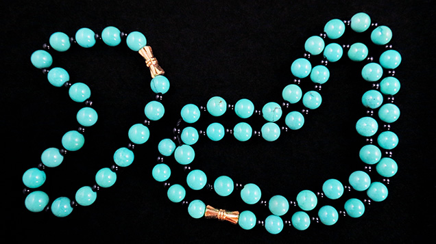 Bracelet and necklace containing treated turquoise