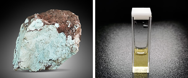 Porous, chalky turquoise and a bottle of filling agent
