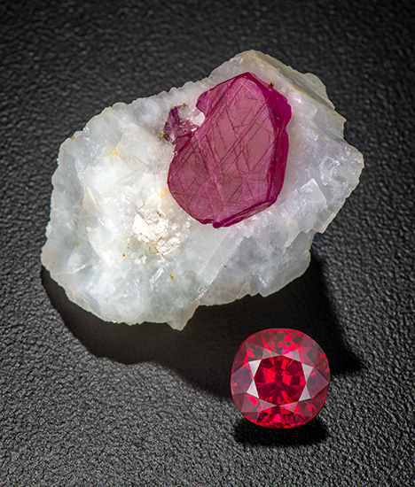 Ruby crystal in matrix and unheated faceted ruby from Mogok, Myanmar