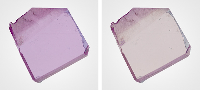 Polished wafer of synthetic pink sapphire under different polarized lighting conditions