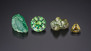 A selection of demantoid from Namibia's Green Dragon mine.