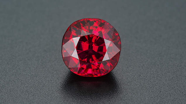 The Crimson Prince ruby shows exceptional color and clarity.