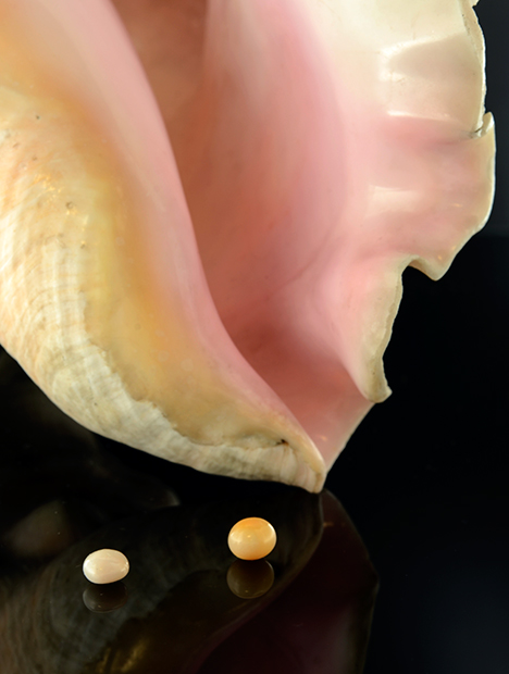 Two of the eight studied nonbead-cultured pearls.