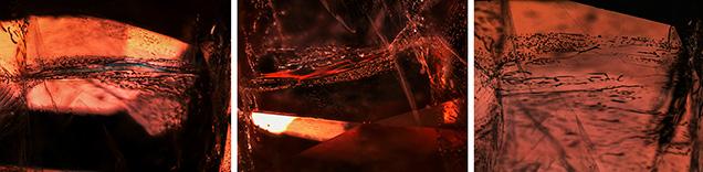 Orange sapphire under brightfield, darkfield and diffused lighting