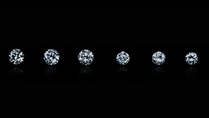 Six near-colorless HPHT synthetic melee diamonds