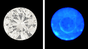 Synthetic sapphire seen under daylight equivalent light and in DiamondView.