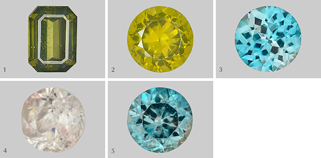 Five zircon samples studied for radioactive degradation of crystal structure.
