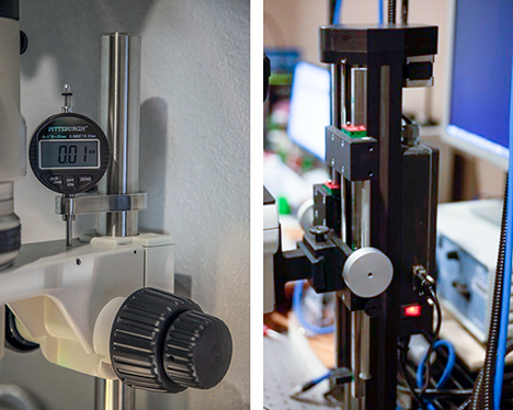 Equipment used to measure step intervals for extended depth-of-field imaging and to perform automated image stacking.