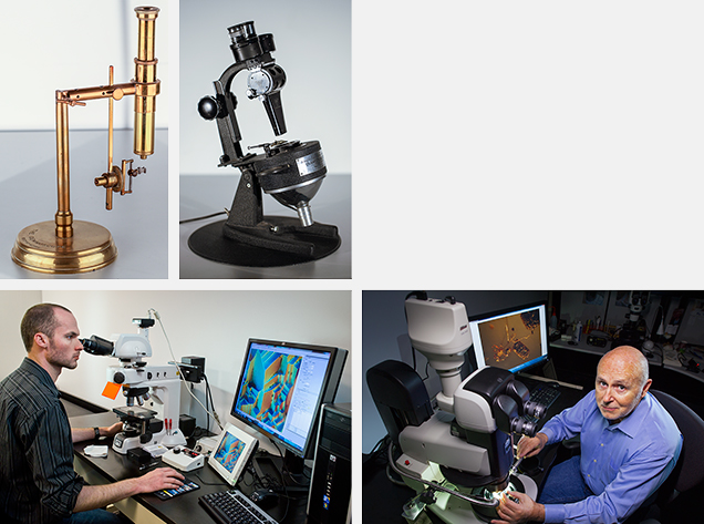 An assortment of gemological microscopes, past and present.