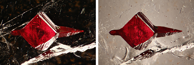 Photomicrographs of a cinnabar inclusion in barite, shown using darkfield and brightfield illumination
