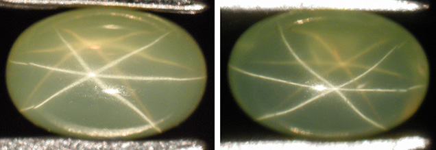 Light yellowish green sapphire with dual-color double asterism, before and after grinding and repolishing