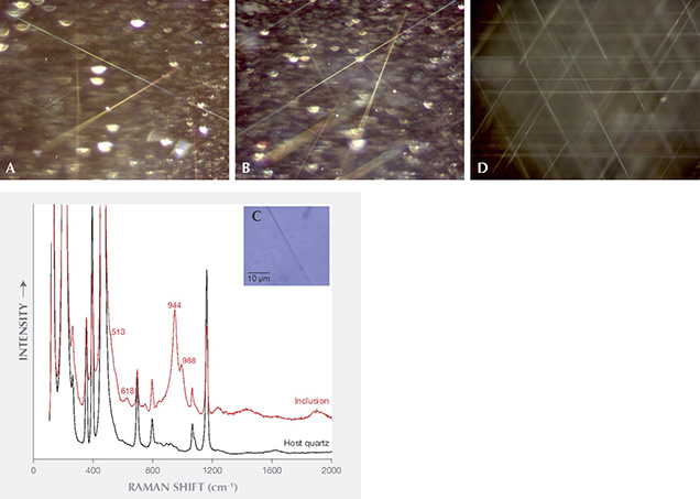 Needles and spectroscopic data in asteriated rose quartz from Brazil and asteriated quartz from India
