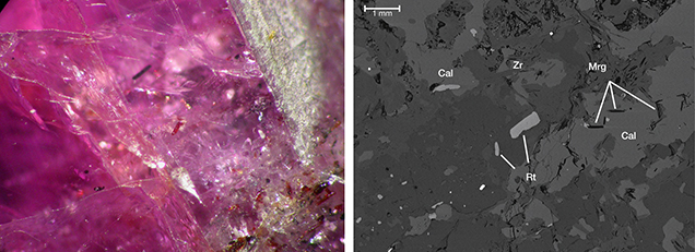 A photomicrograph of inclusions in ruby and a backscattered electron image of inclusions in pink sapphire, both from Snezhnoe, Tajikistan