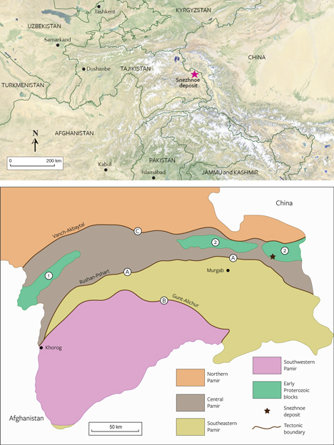 Map of the Snezhnoe marble-hosted ruby deposit in Central Asia. Bottom: A regional geological map of the Pamir Mountains of Tajikistan