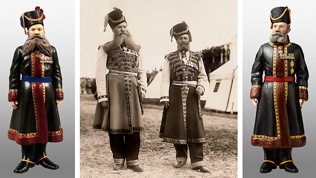 Fabergé figures of Chamber Cossacks A.A. Kudinov and N.N. Pustynnikov
