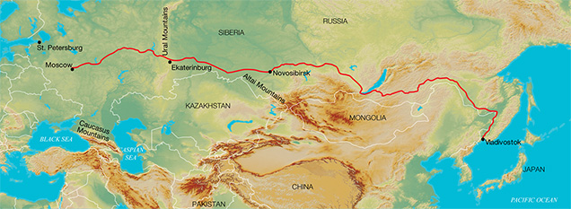 Map of Russia and the Trans-Siberian Railway