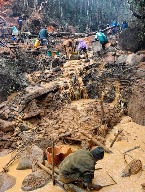 Mining site at Zahamena National Park, Madagascar