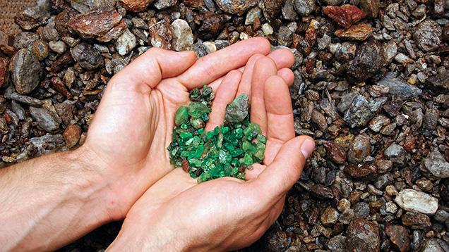 Tanzanian tsavorite retrieved through alluvial mining.