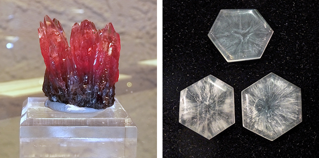 South African rhodochrosite specimen and Colombian quartz slices showing trapiche-like patterns.
