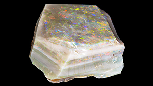 Color bars on top and sides of 3,019 ct rough opal