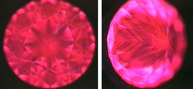 DiamondView of diamond showing red fluorescence.