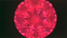 DiamondView of diamond showing red fluorescence.