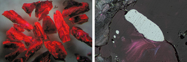 Photomicrographs of technogenic ruby.