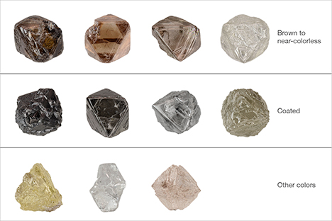 Representative colors of Diavik rough diamonds