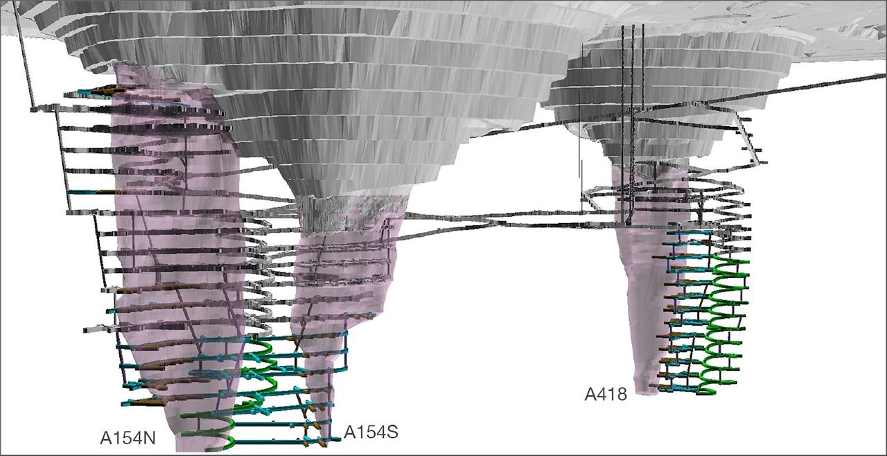 Computer-generated plan of underground workings at Diavik