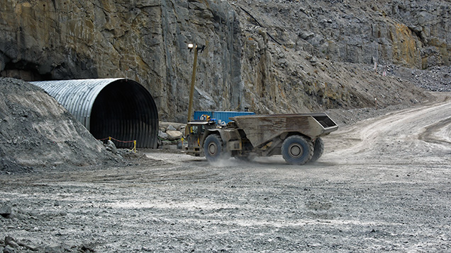 Ore hauler entering underground workings at Diavik
