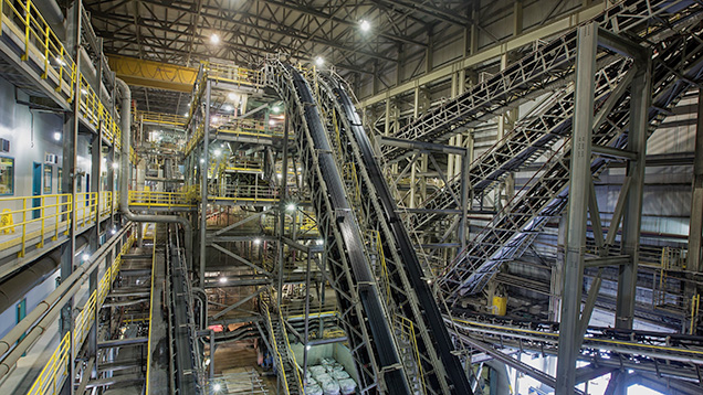 Inside Diavik's ore processing plant