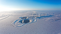 Aerial view of the Diavik diamond mine in winter