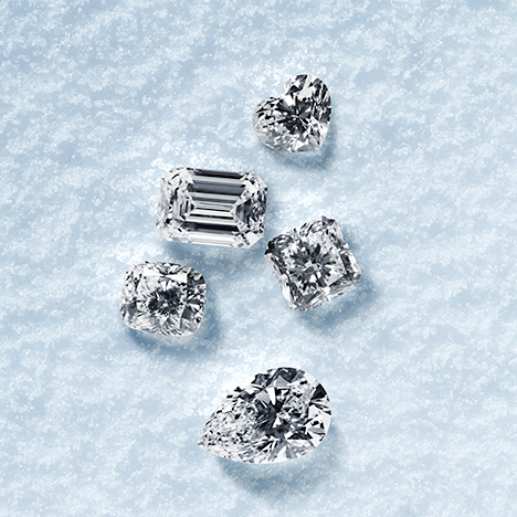 Faceted Diavik diamonds