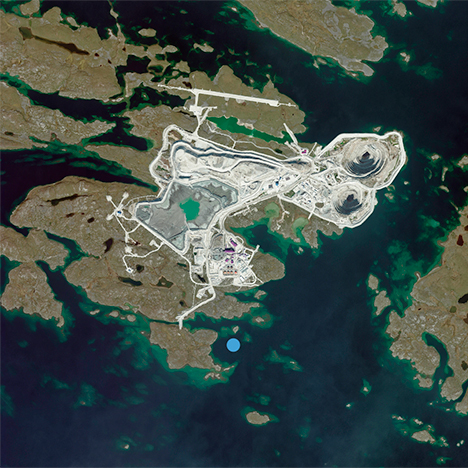 Photo of the Diavik mine, taken from space