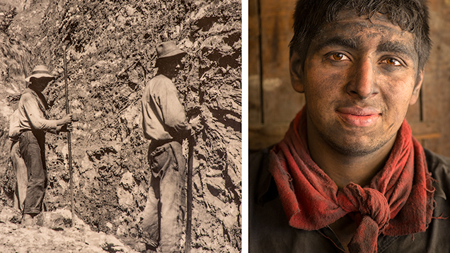 Miners at Chivor, then and now