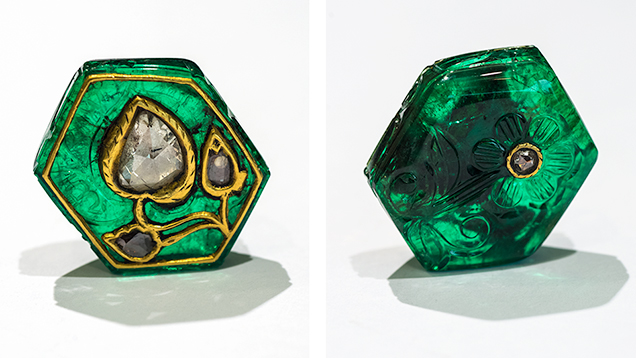 Front and back views of a Mughal emerald