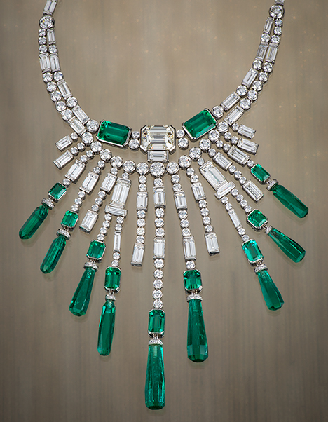 Chivor emerald bib necklace