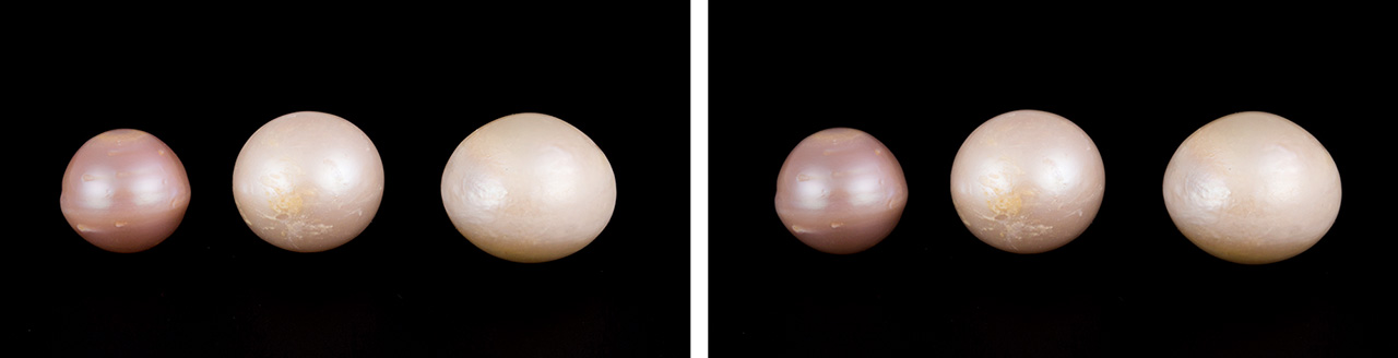 Pink Kasumiga pearls before and after fading test