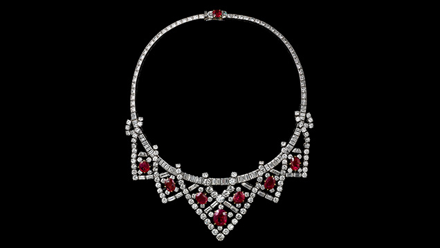 Cartier ruby and diamond necklace once owned by Hollywood actress Elizabeth Taylor.