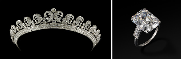 Queen Elizabeth II's Halo Tiara (left) and Grace Kelly's engagement ring (right).