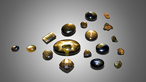The examined golden sheen sapphires.