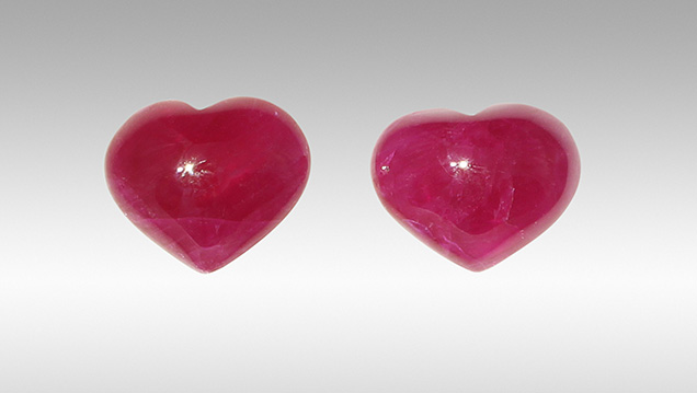 These rubies were determined to be glass filled, partly due to the use of the DiamondView.