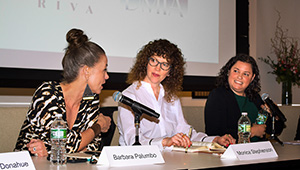 Barbara Palumbo, Monica Stephenson, and Sarah Yood speak at the conference.