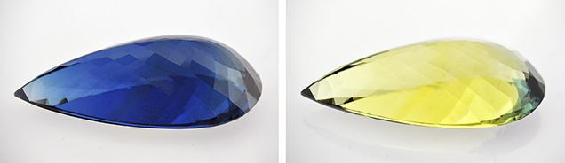 The blue o-ray (left) and a yellow e-ray (right) of the beryl.