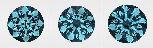 Irradiated CVD synthetic diamonds.
