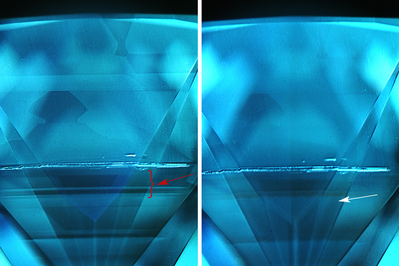 Fluorescence and phosphorescence images of the HPHT-grown diamond.