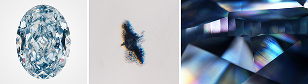 HPHT-treated blue diamond (left) with ragged-looking graphitization around an inclusion (center) and high-order interference colors with crossed-polarizing filters (right).