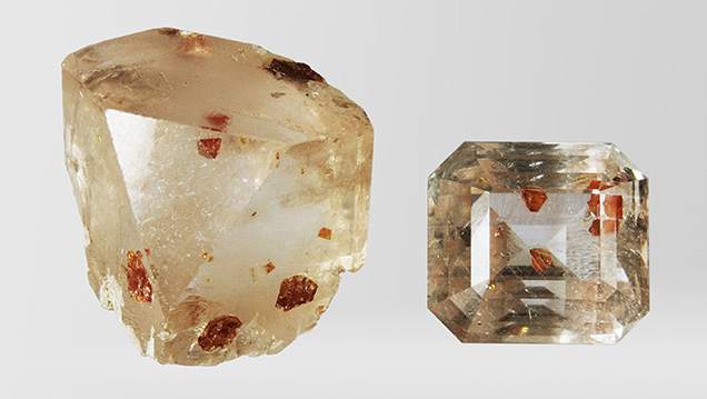 Topaz from Pakistan with microlite inclusions.